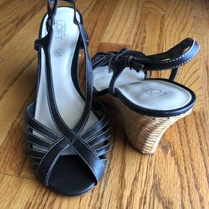 LOFT Dark Brown Strappy Wedge Sandals, size 8.5